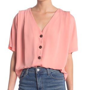 Elodie V Neck Button Front Boxy Fit Blouse